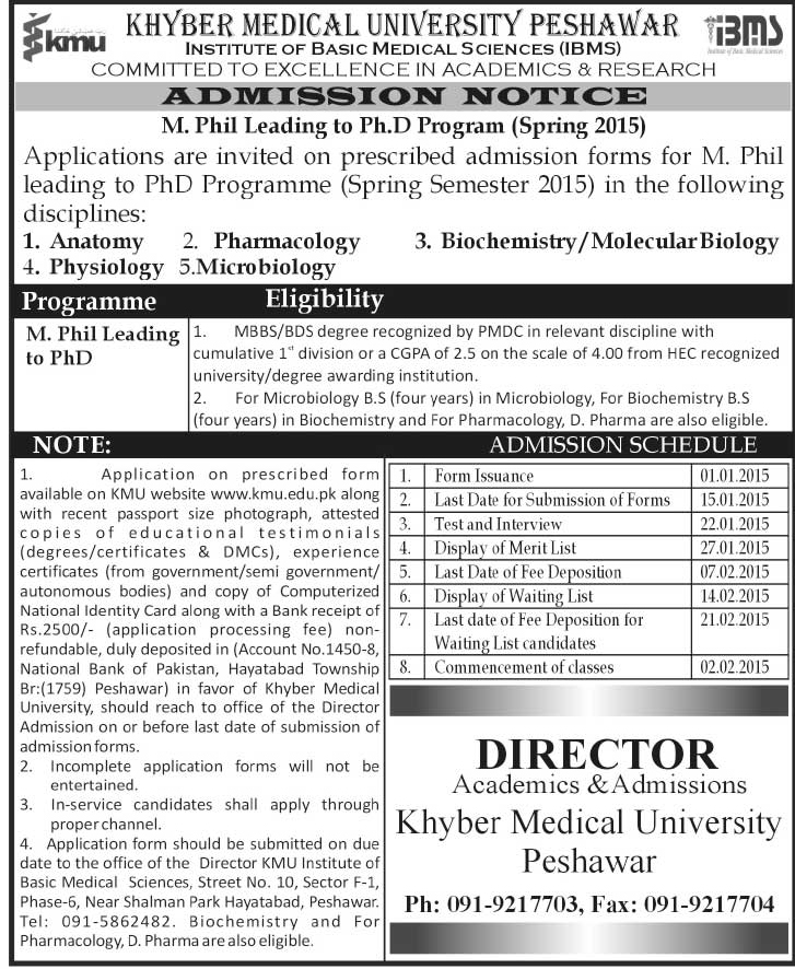 Khyber Medical University MPhil Leading to PhD Anatomy/Pharmacology ...