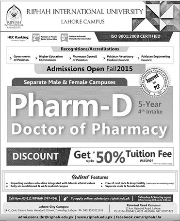 Doctor of Pharmacy Pharm D Admission in Riphah International University