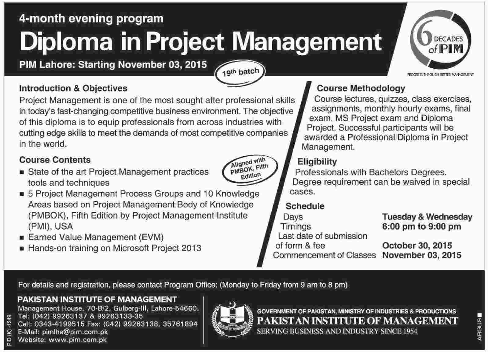 Diploma In Project Management Admission In Pakistan Institute Of