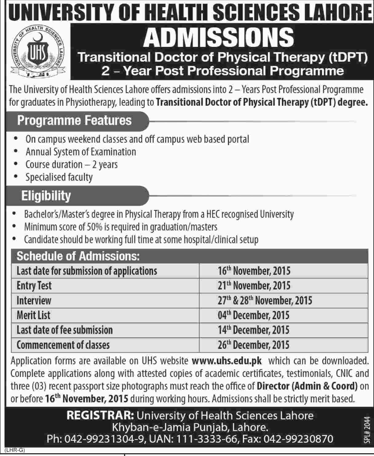 College courses for physical therapy - Doctor Of Physical Therapy Admission In University Of Health Sciences Lahore