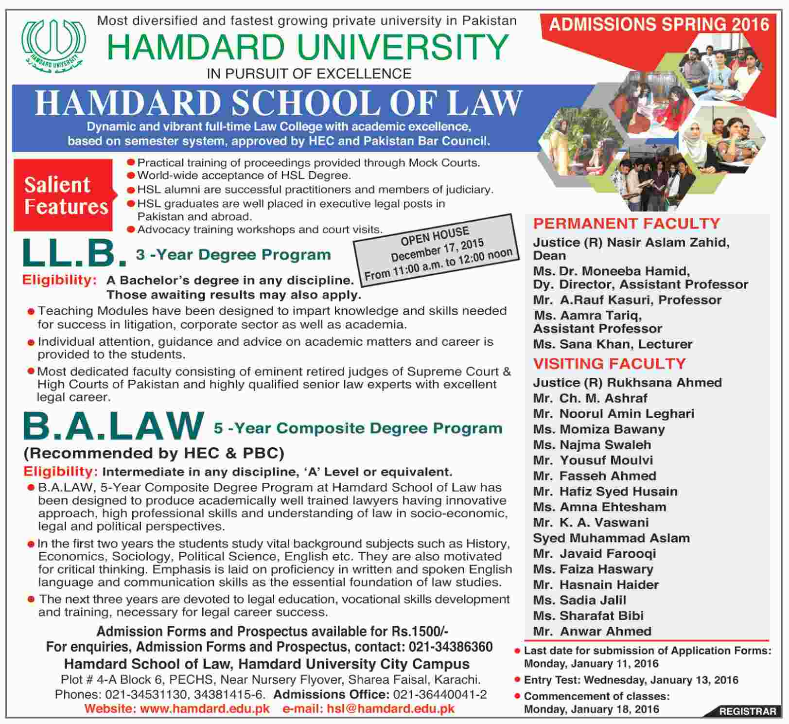 LLB and BA Law Admissions in Hamdard University Karachi
