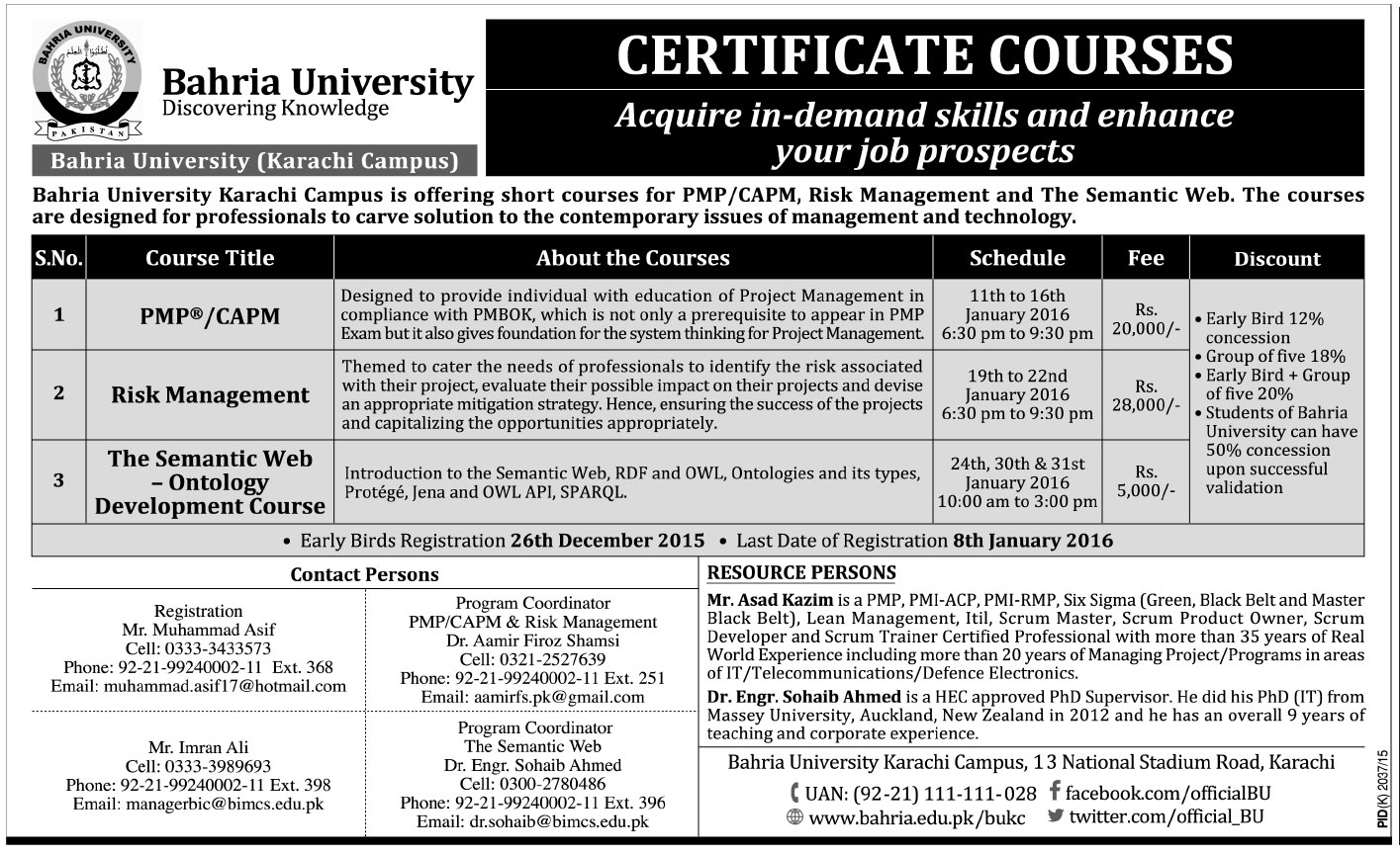Certificate Associate Project Management Admissions In Bahria University