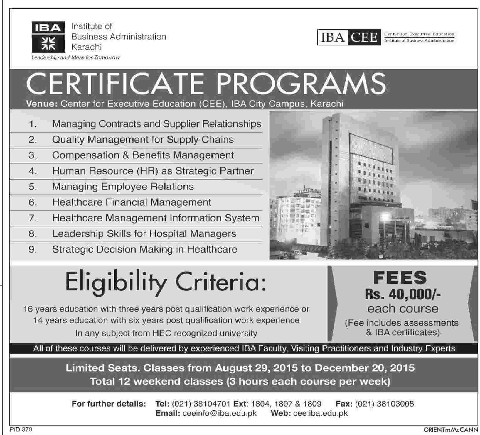 Short courses admission in institute of business administration short courses admission in institute of business administration iba karachi sciox Choice Image