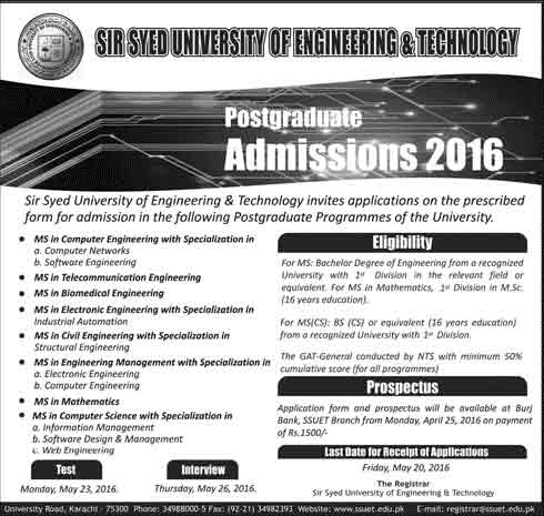 Admission in Sir Syed University of Engineering and