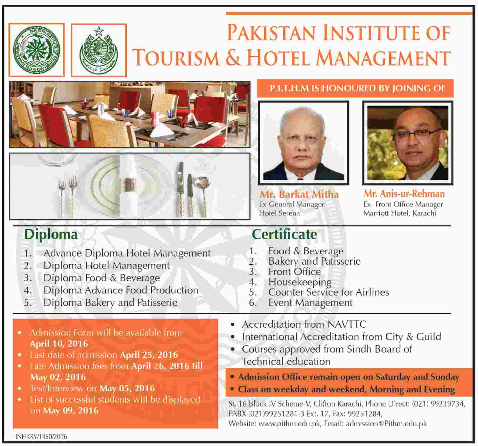 Pakistan Institute of Tourism and Hotel Management Karachi