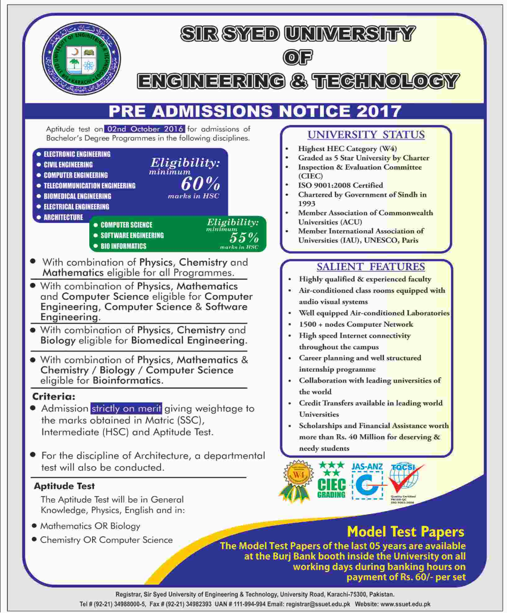Admissions in Sir Syed University of Engineering and Technology
