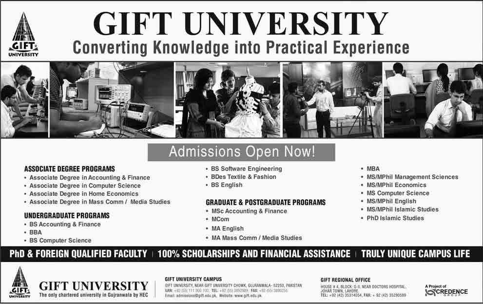 Admission open in the gift university gujranwala 08 aug 2016 negle Image collections
