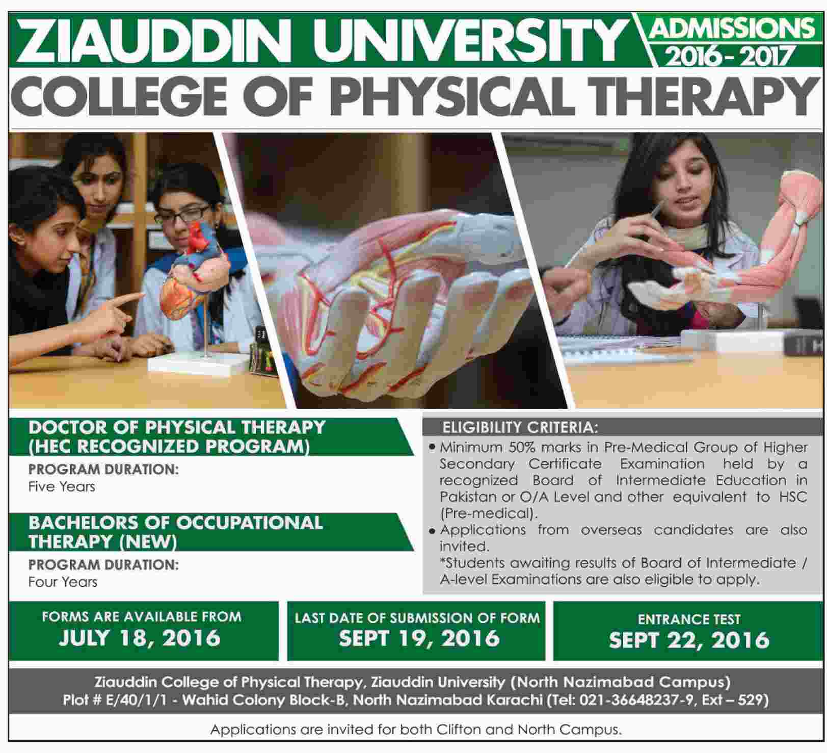 College for physical therapy - Admission In Ziauddin University College Of Physical Therapy 15 Aug 2016