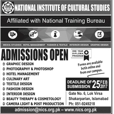 Admission Open In National Institute Of Cultural Studies Islamabad 11 Jan 2017