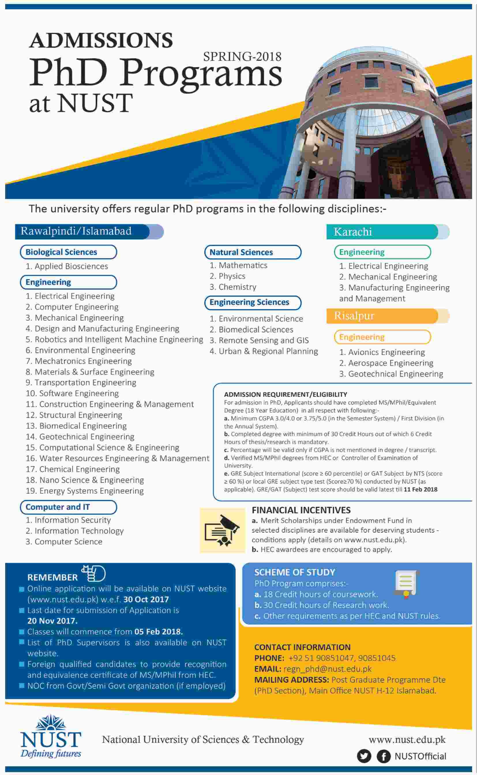 Admission Open in National University of Sciences and Technology