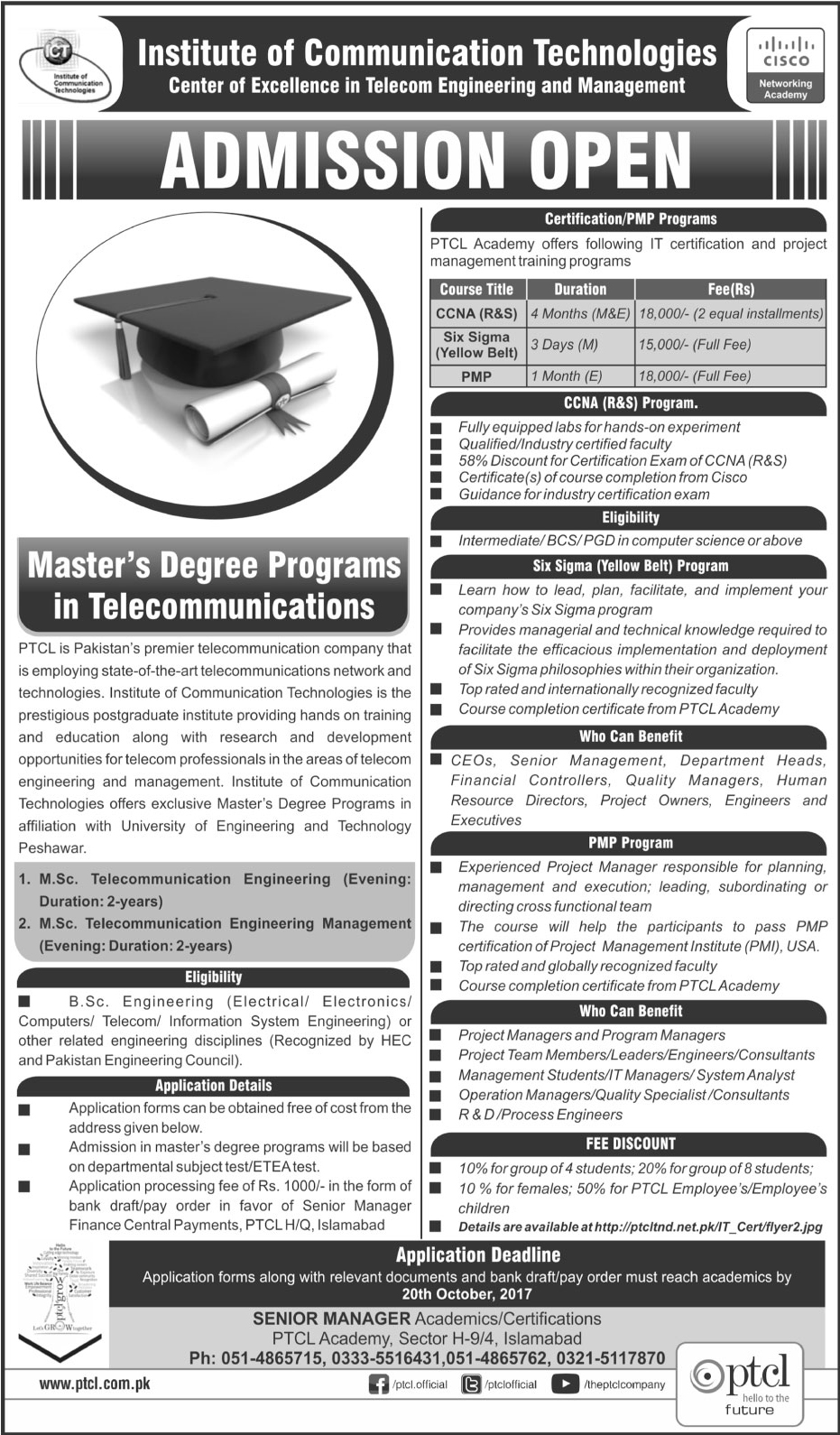 Admission in institute of communication technologies 01 oct 2017 xflitez Gallery