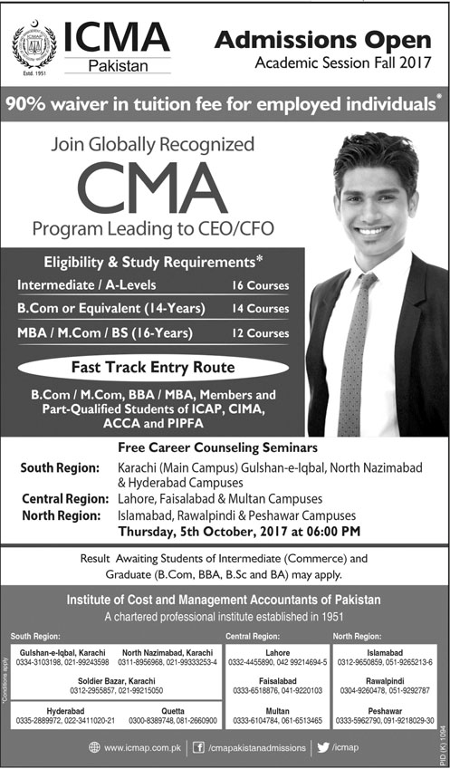 Admission In Institute Of Cost And Management Accounts Icma Karachi