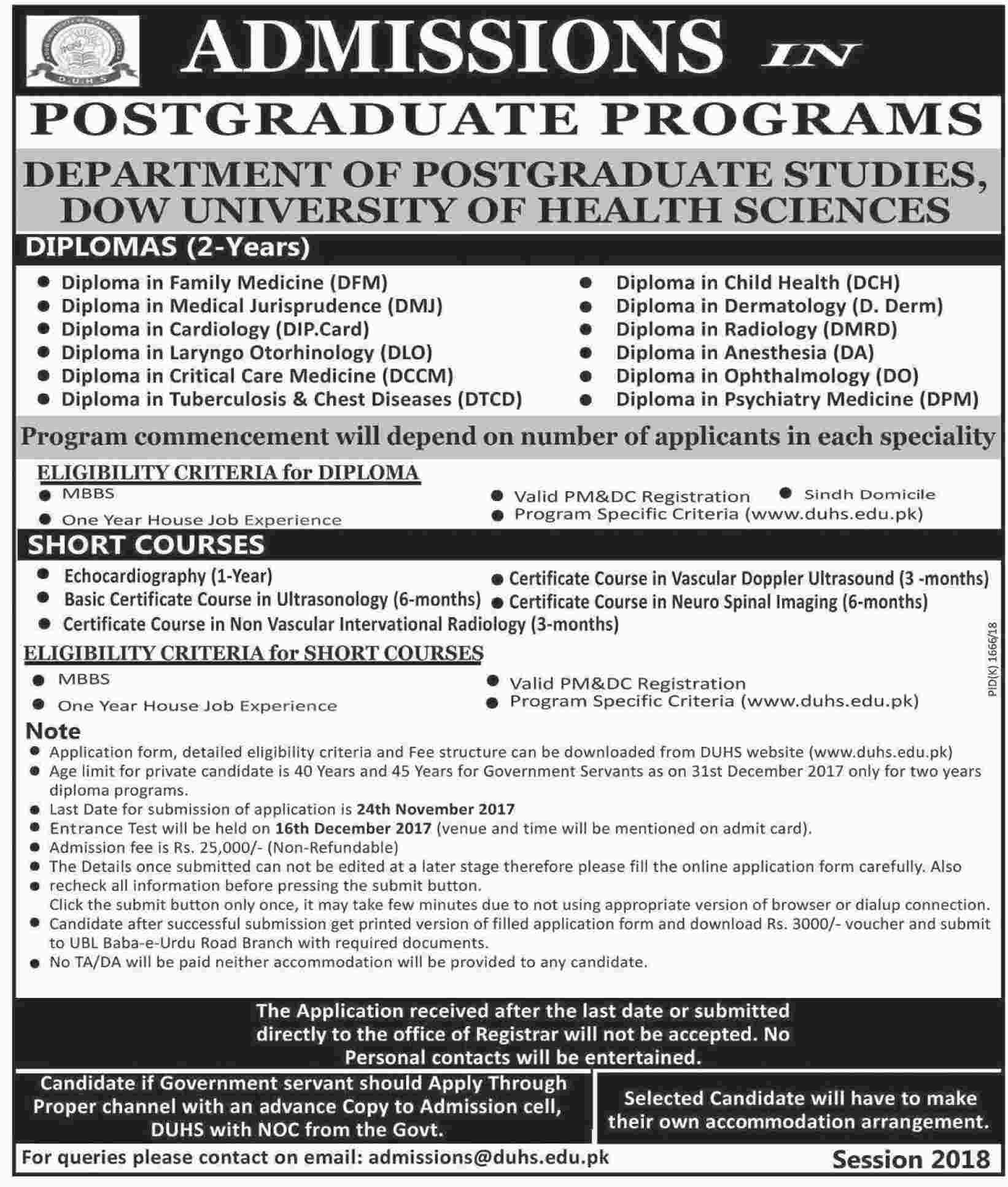Admission open in dow university of health sciences 12 nov 2017 xflitez Image collections