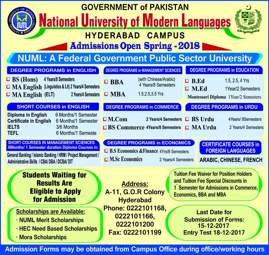 Admission Open In National University Of Modern Language Hyderabad