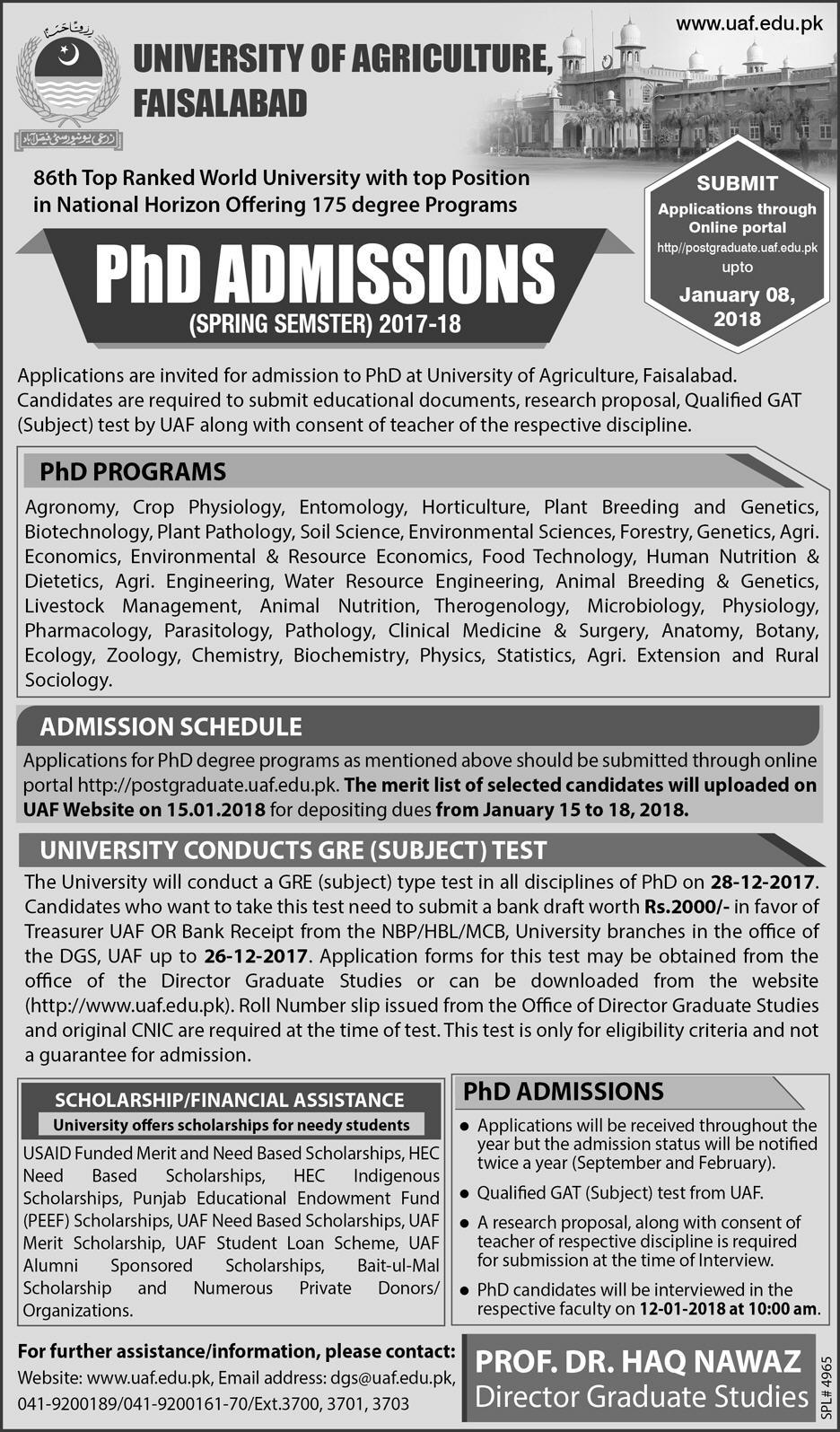 Admission Open in University of Agriculture Faisalabad 15 Dec 2017