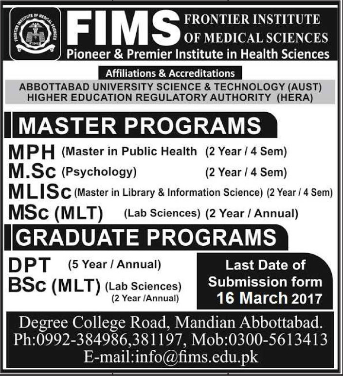 Admission In Frontier Institute Of Medical Sciences 05 Mar 2017