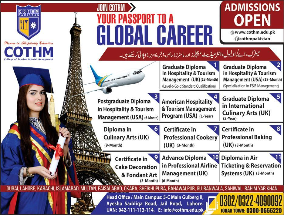 Admissions In College Of Tourism And Hotel Management Cothm Karachi