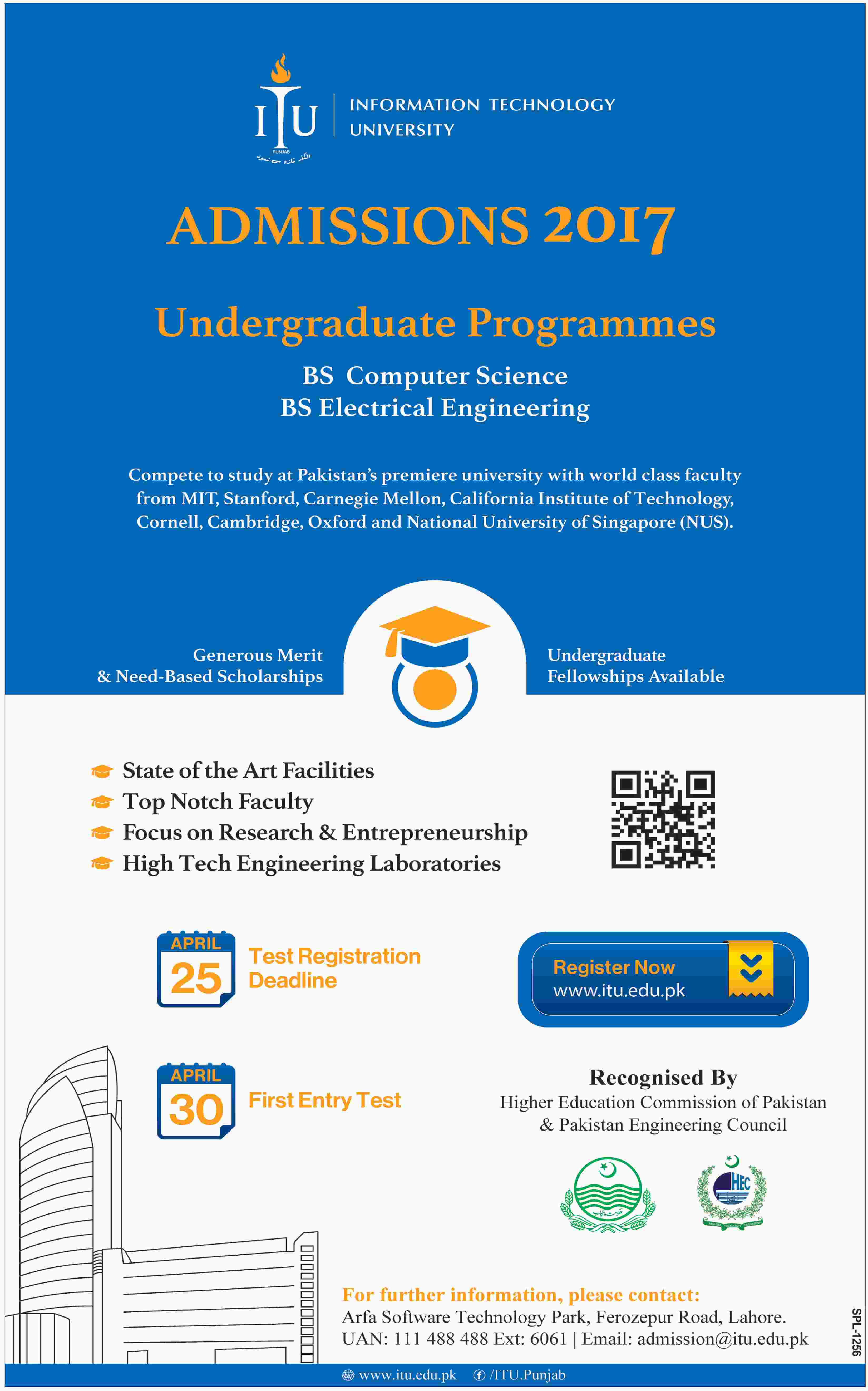 Admission Open in Information Technology University Lahore 23 Apr 2017