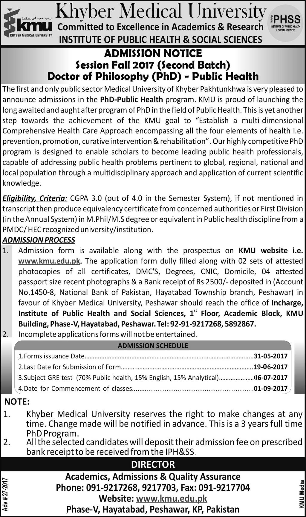 Admission Open in Khyber Medical University Peshawar 31 May 2017 on gautam buddha university, kabul medical university, riphah international university, gandhara university, king edward medical university,