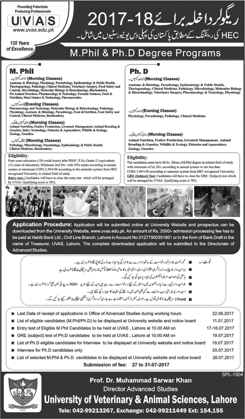 Admission Open in University of Veterinary and Animal Sciences UVAS ...