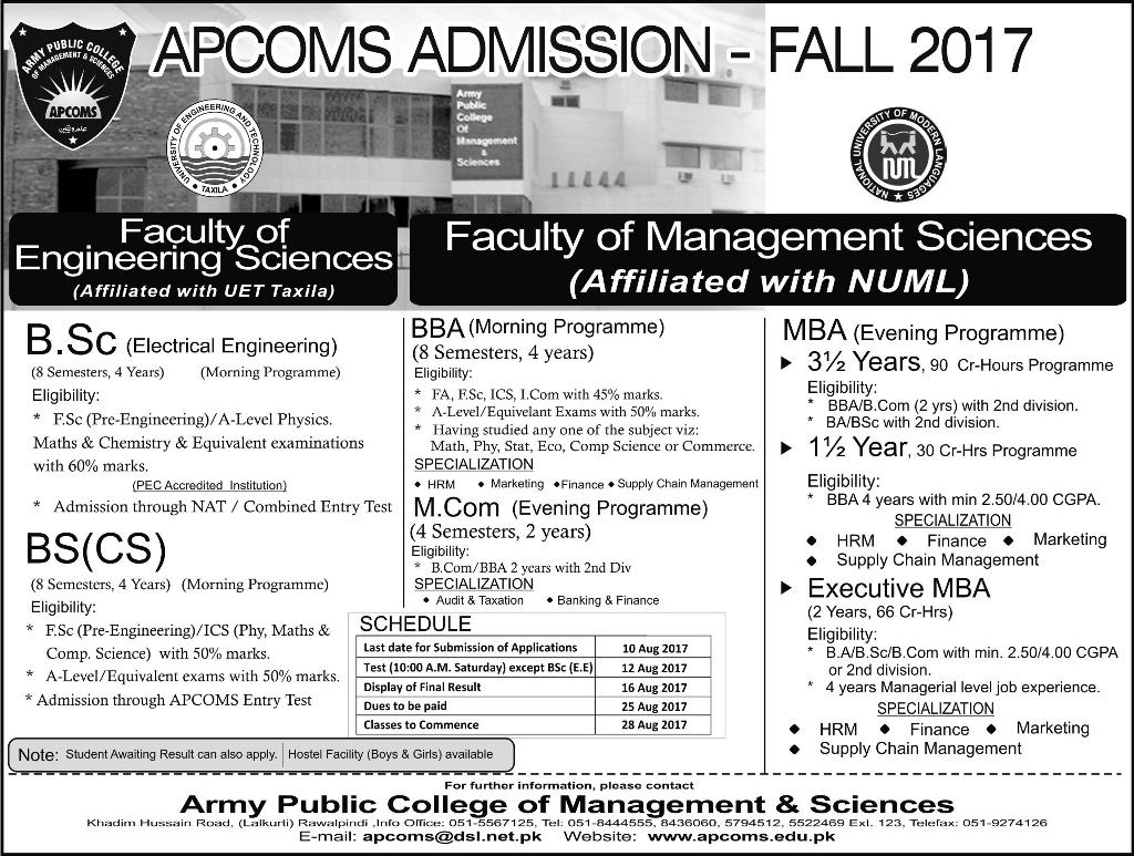 Admission Open in Army Public College of Management and Science 04