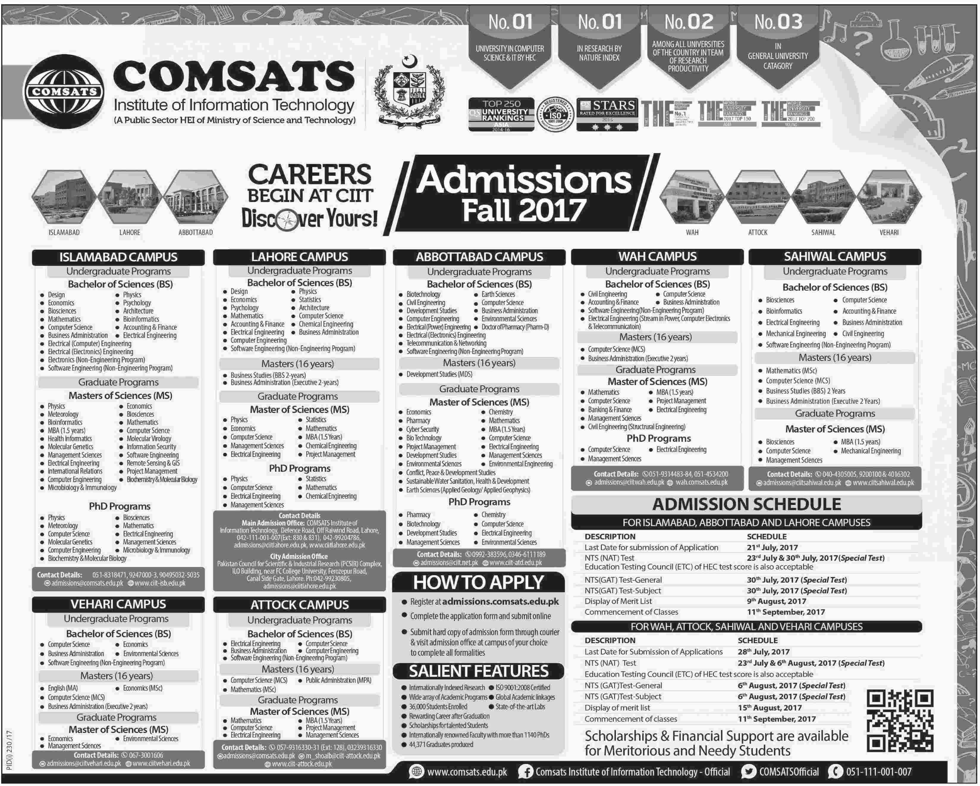 Admission open in comsats institute of information technology 17 admission open in comsats institute of information technology 17 july 2017 xflitez Image collections