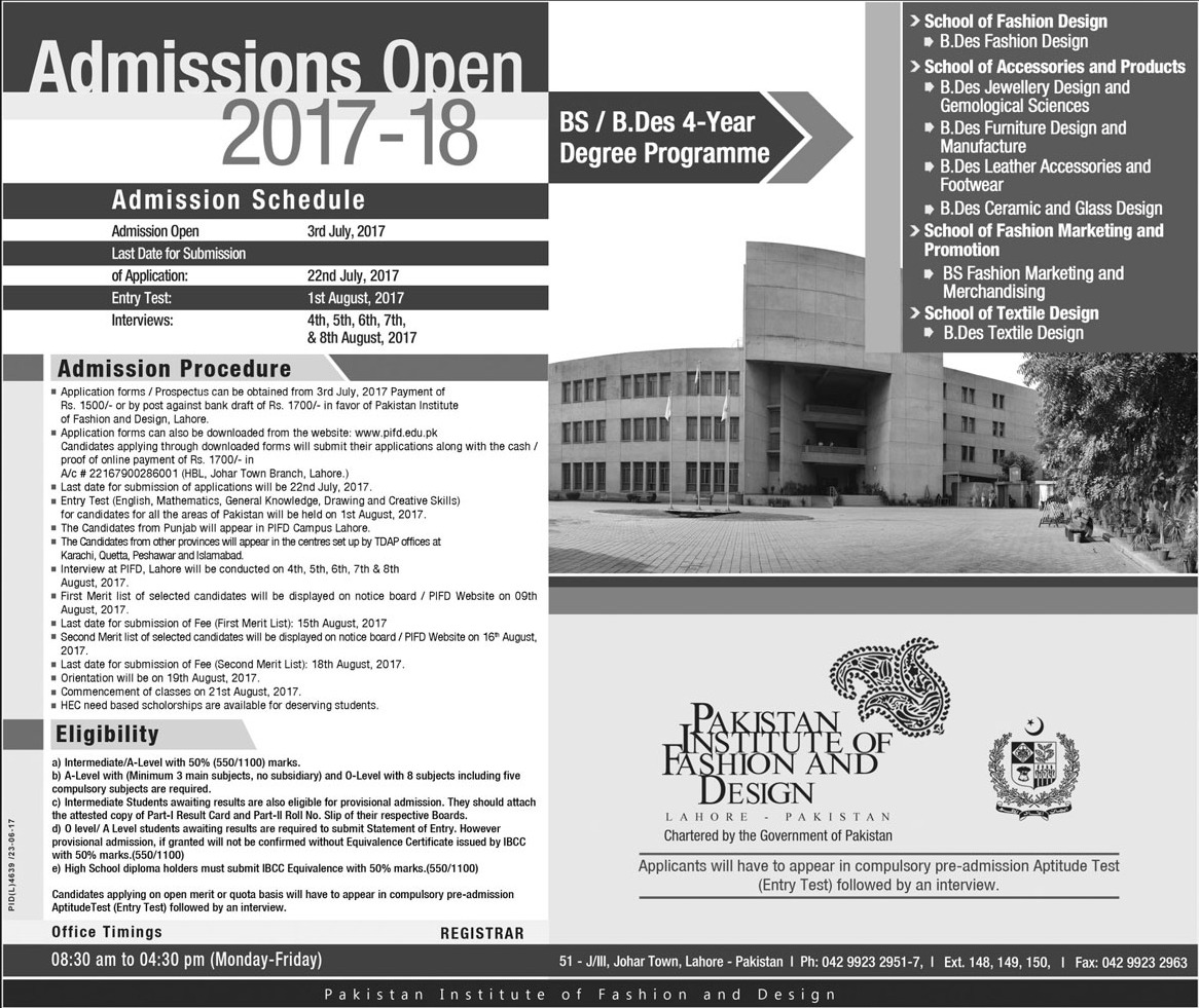 Admission In Pakistan Institute Of Fashion And Design Lahore 04 Jul 2017