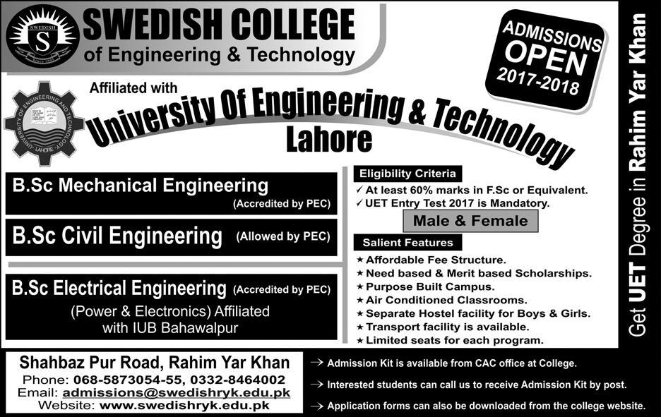 Swedish College Of Engineering And Technology Admissions 2017