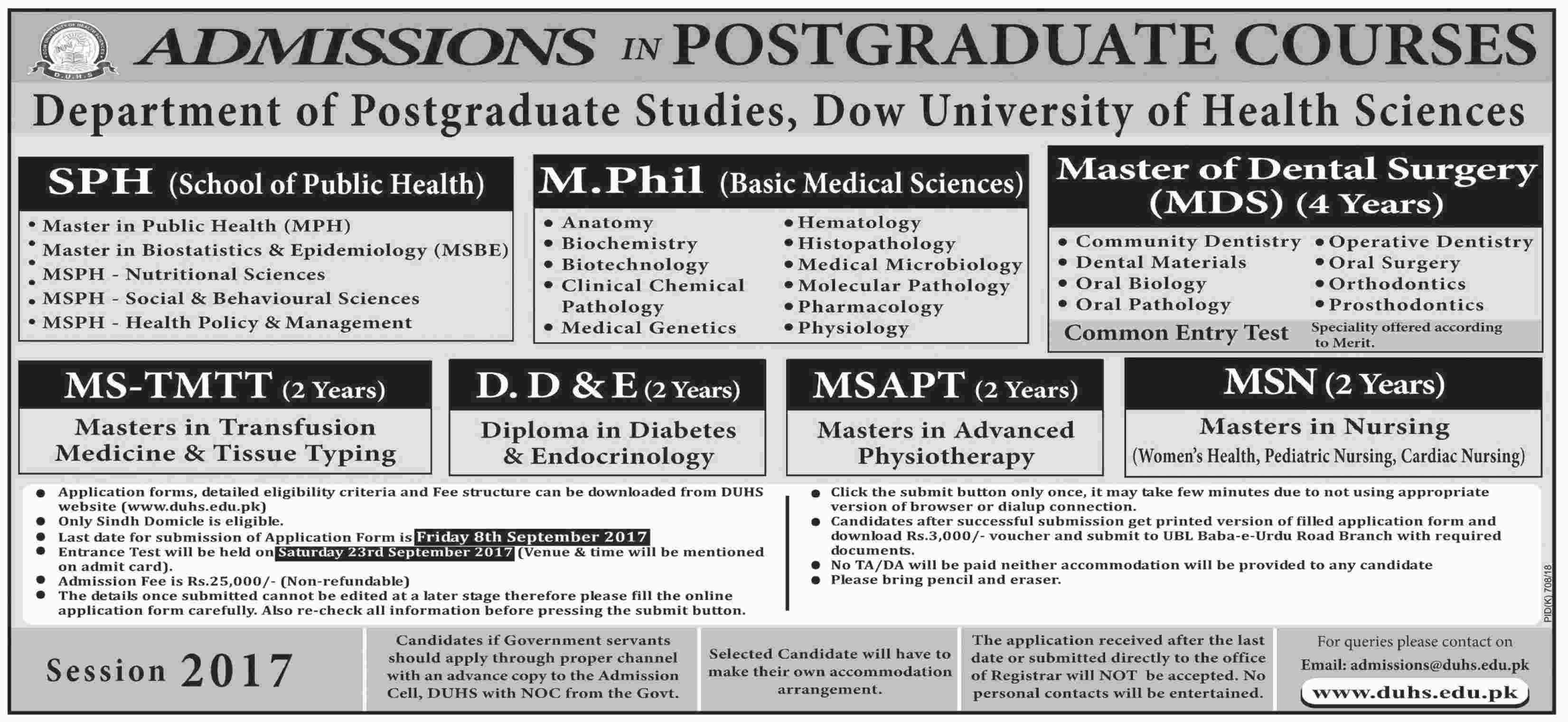 Admission Open in Dow University of Health Sciences 27 Aug 2017