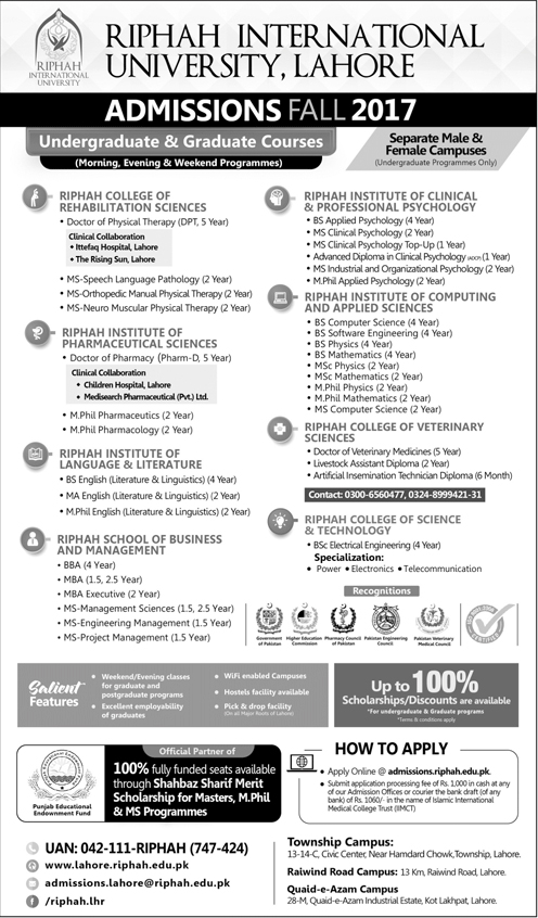 Admission Open in Riphah International University Lahore 28