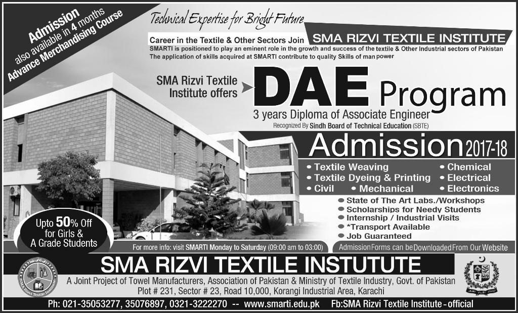 Admission Open in SMA Rizvi Textile Institute Karachi 27 Aug 2017