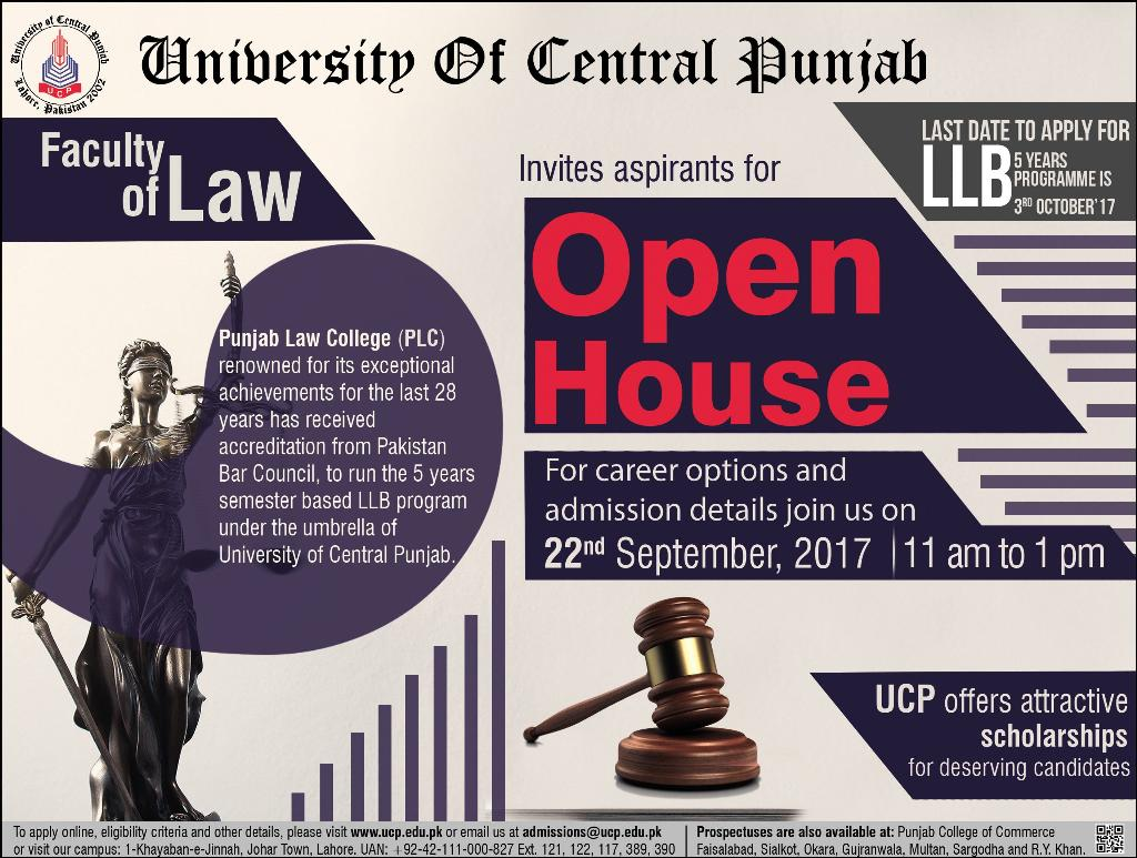 Admission in University of Central Punjab Lahore, 19 Sep 2017