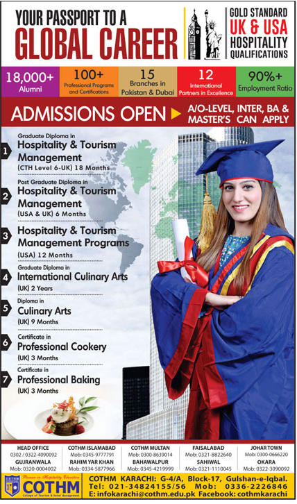 Admissions In College Of Tourism And Hotel Management Cothm 11 Jan 2018