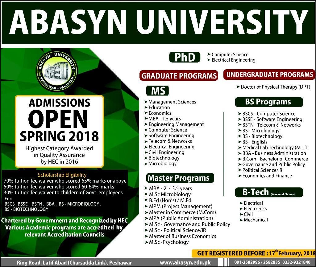 Admission Open in Abasyn University Peshawar 11 Feb 2018