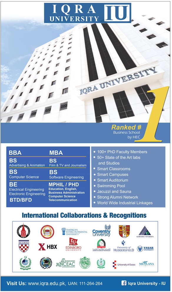 Admission Open in Iqra University Islamabad 07 Feb 2018