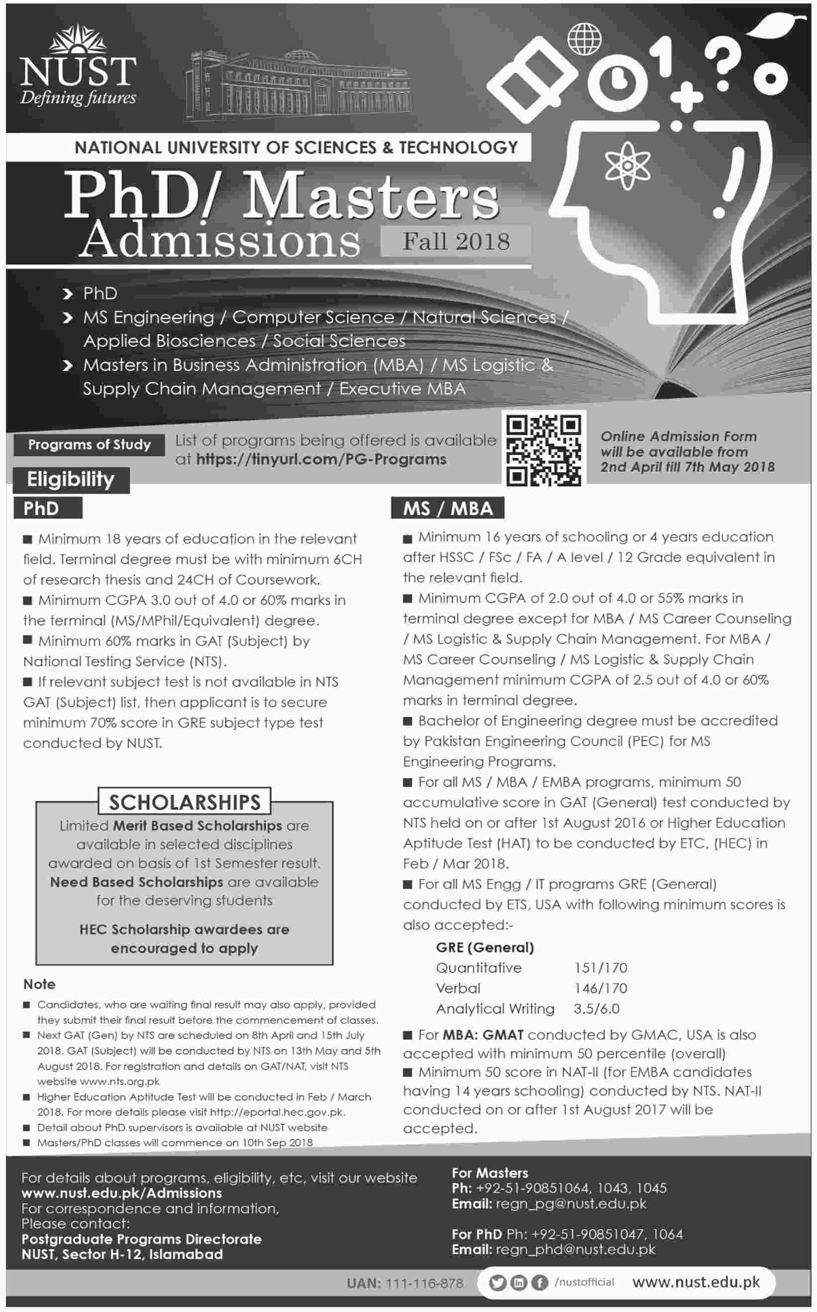 Admission Open in National University of Sciences and