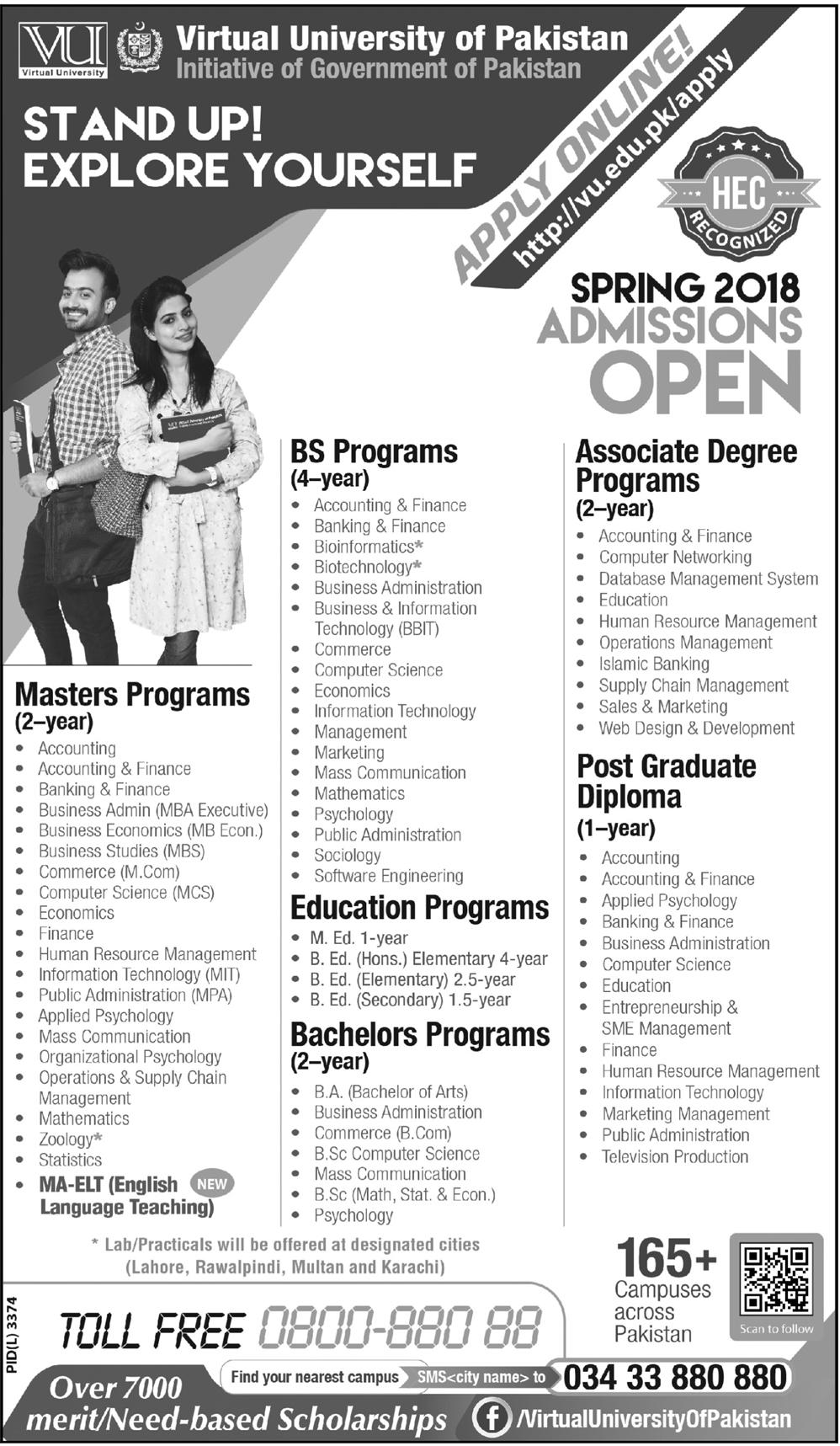 Admission Open In Virtual University Of Pakistan 19 Feb 2018
