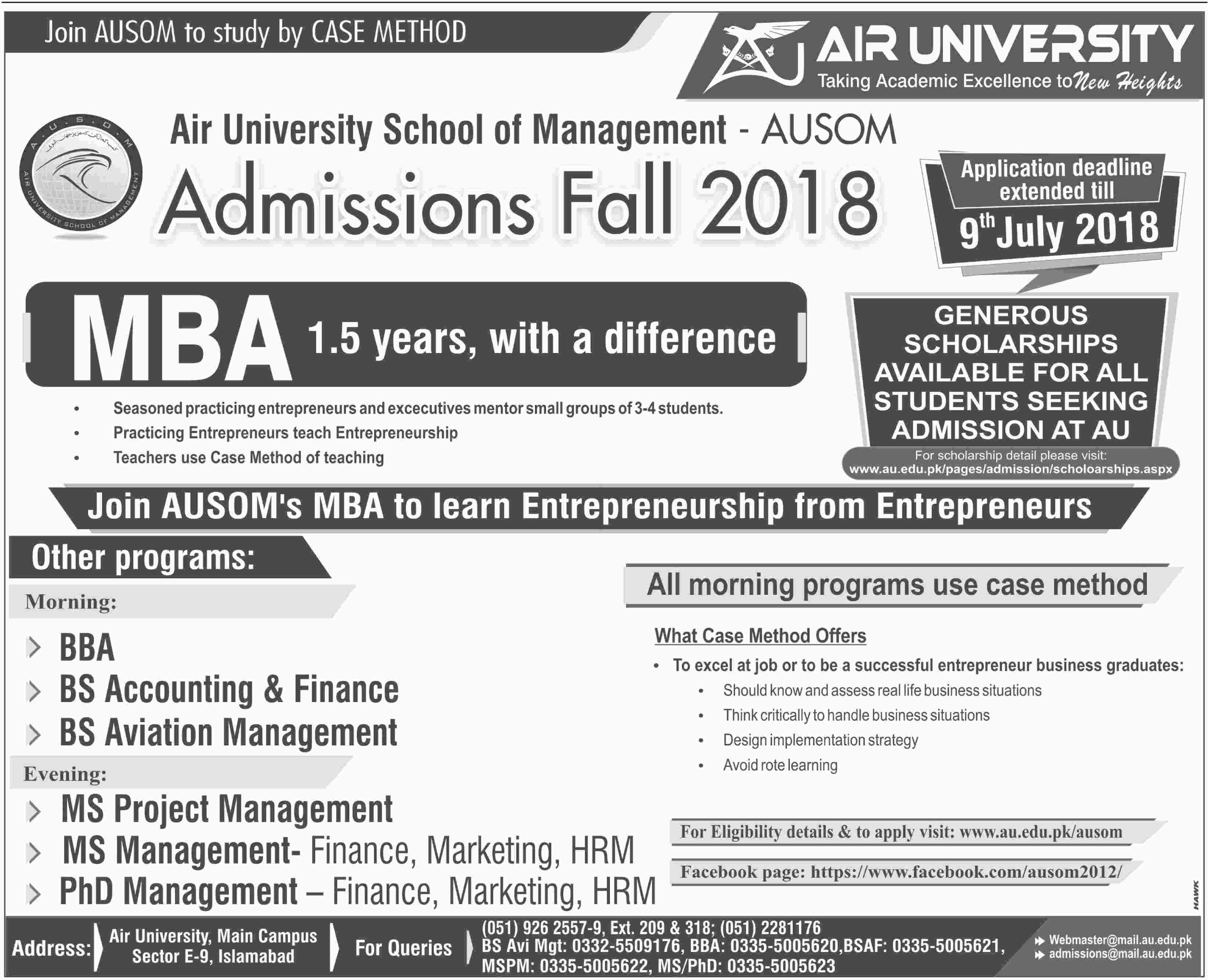 Admission Open in Air University Islamabad 27 June 2018