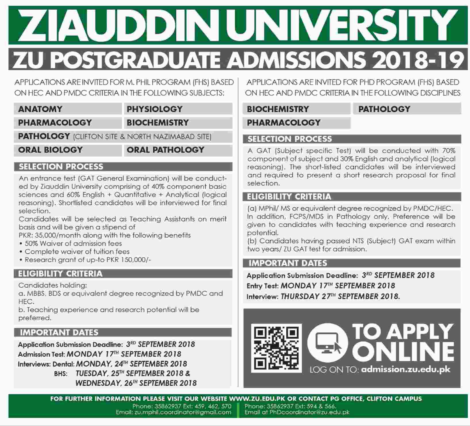 Admission Open in Ziauddin University Karachi 13 Aug 2018