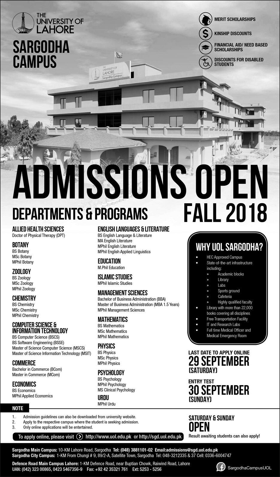 Admission Open in The University of Lahore Sargodha Campus 09 Sep 2018