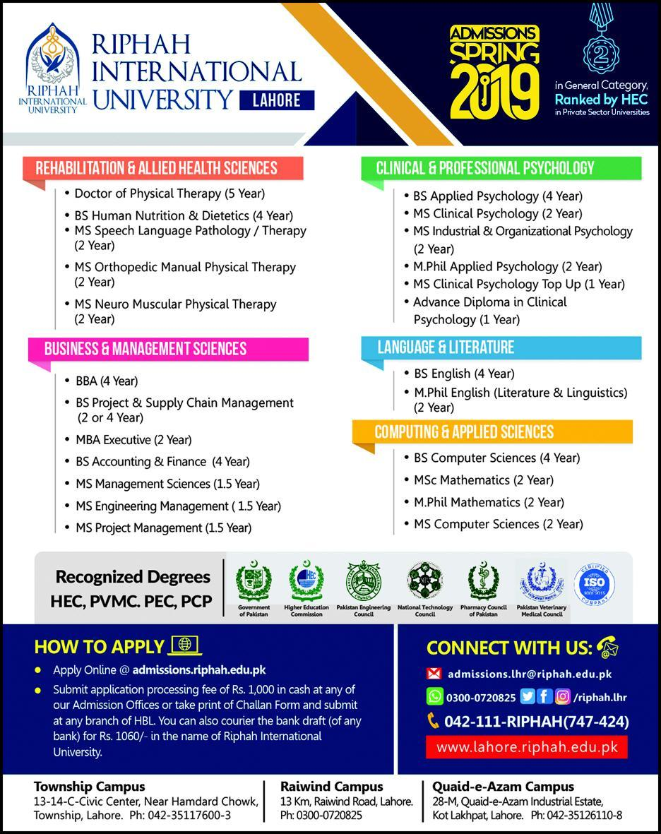 Admission Open in Riphah International University Lahore 17