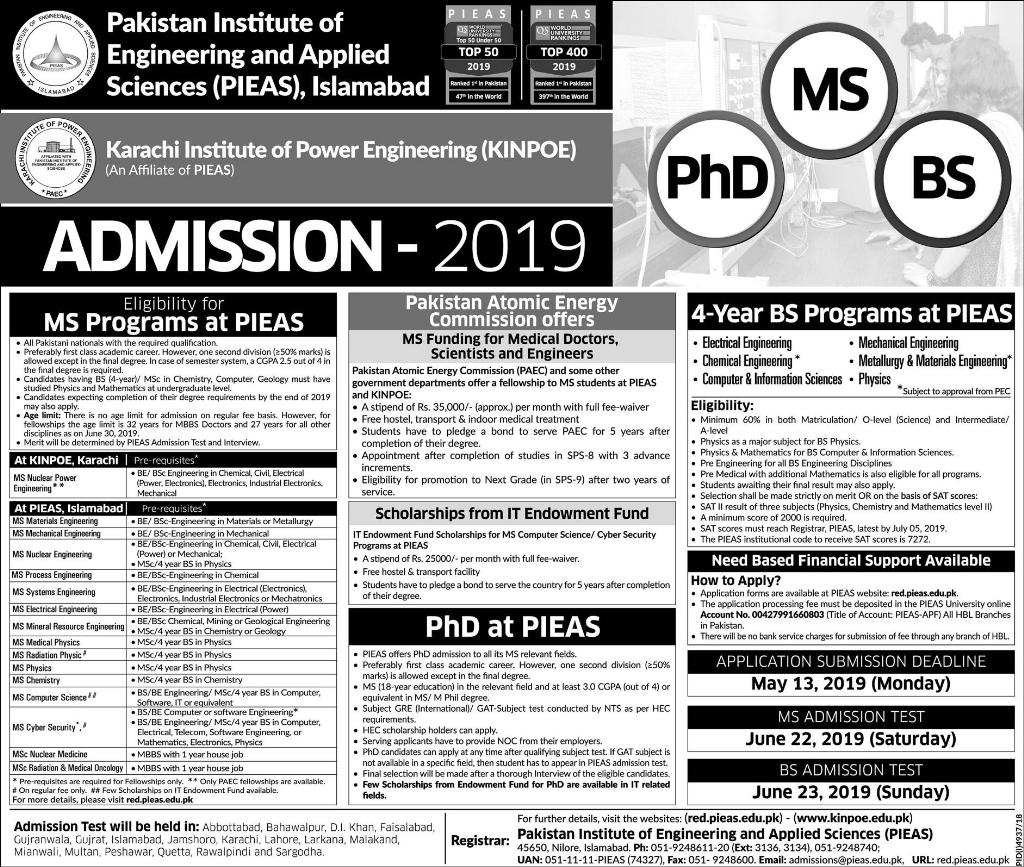 Admission in Pakistan Institute of Engineering and Applied